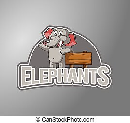 Elephant Illustration design badge