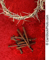 Crown of Thorns and Spikes on Red Background.