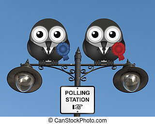 Polling Station - Comical left wing and right wing...