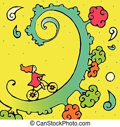 girl rides by bicycle to the moon in bright sky through her children's fairy dreams