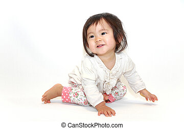 baby girl sitting on the floor - Japanese baby girl sitting...