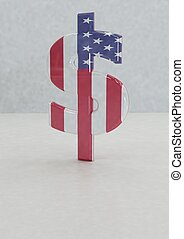 Big three-dimensional dollar sign