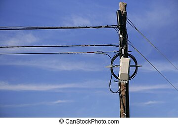 Electric line wooden pole top detail