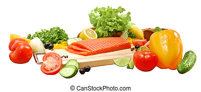 Composition with fresh vegetables and fish fillets (salmon,...