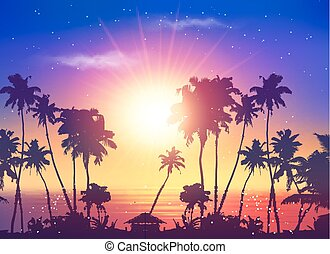 Vector ocean sunset sky with dark palm silhouettes and sun