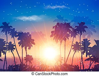Vector ocean sunset sky with dark palm silhouettes and...