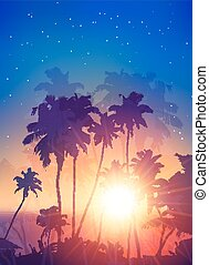 Retro style sunset with palm silhouettes poster background -...