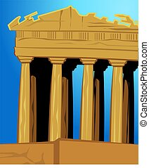 Acropolis - Illustration of acropolis in blue background