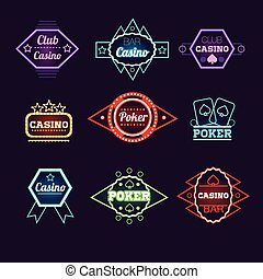 Neon Light Poker Club and Casino Emblems Collection - Neon...