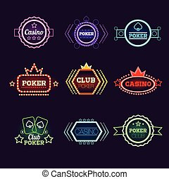 Neon Light Poker Club and Casino Emblems Set - Neon Light...