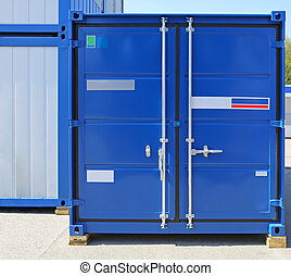 Cargo Container - Blue Cargo Container Ready for Shipping
