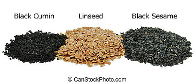 grain - black cumin, linseed, black sesame isolated on white...