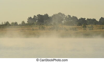 Beautiful fog in morning above water in lake or river at...
