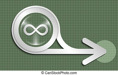 Silver abstract arrow and  transparent infinity icon