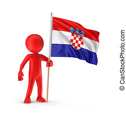 Man and Croatian flag. Image with clipping path