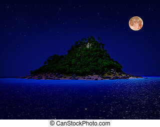 Tropical island night - Tropical island and sand beach at...
