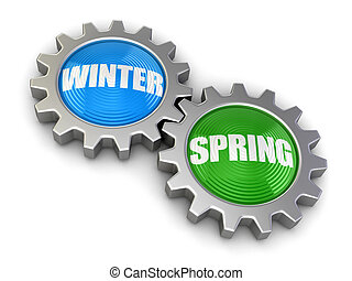 Gears with Spring and Winter Image with clipping path