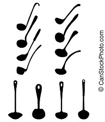 silhouettes of ladle - Black silhouettes of various ladle,...