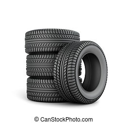 Black tires on a white background
