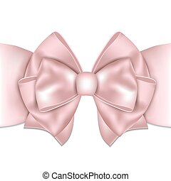 Beautiful pink bow with ribbon on white background.