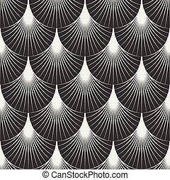 Vector Seamless Black and White Feather Shape Sunburst Lines...