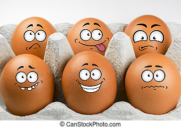 Eggs with faces and various expressions