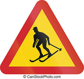 Road sign used in Sweden - Skiers crossing