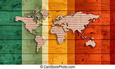 wooden board with relief of a world map