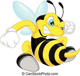 angry bee cartoon - vector illustration of angry bee cartoon