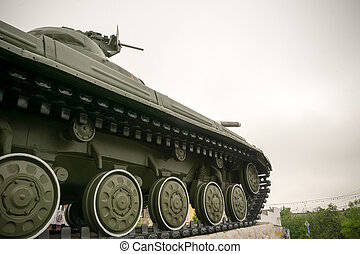 Military Tank in the City - Vintage military tank in the...