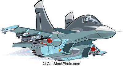 Cartoon Military Airplane - Vector Cartoon Fighter - Bomber...