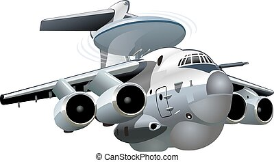 Cartoon Military Airplane - Vector Cartoon AWACS Plane....