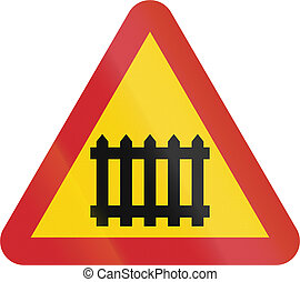 Road sign used in Sweden - Level crossing with gates