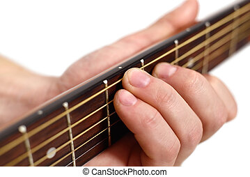 hand playng on guitar on white background. close up