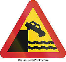 Road sign used in Sweden - Quayside or ferry berth.
