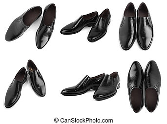 shoes - Black leather men shoes isolated on white background
