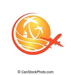 naranja, viaje,  vector, señal