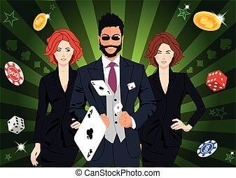 Confident lucky man throws aces - Confident lucky man...