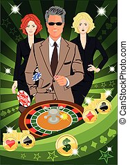 Confident lucky man spins roulette - Confident lucky man...