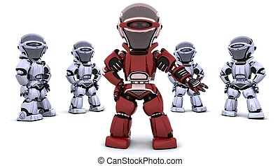 red robot leading a team - 3D render of a red robot leading...