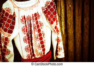 The Romanian blouse - Close up color shot of a traditional...