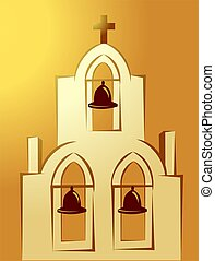 Church - Illustration of bells in a church