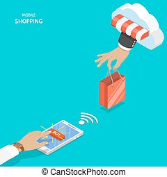 Mobile shopping flat vector concept. Hand of delivery man...