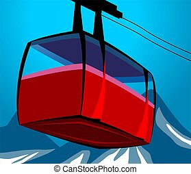 Cable car - Illustration of a cable car in cable