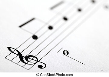 G-clef - Detail of a music sheet with the G clef