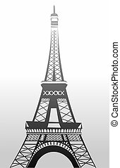 Eifel tower - Illustration of eifel tower in black and white...