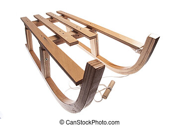 Wooden sledge - Color picture of a vintage wooden sledge...