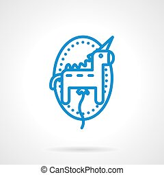 Unicorn balloon vector icon blue line style