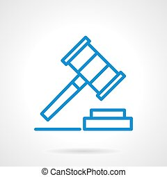Gavel vector icon blue simple line style - Justice sign,...