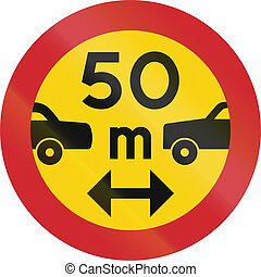 Road sign used in Sweden - Minimum distance between power...